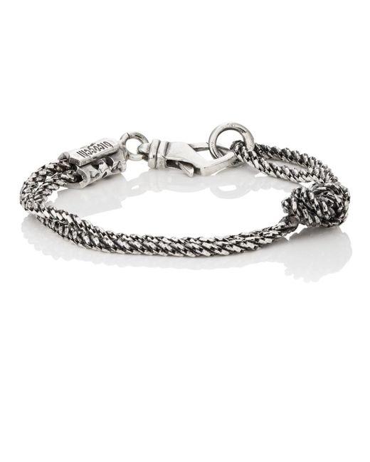 Emanuele Bicocchi - Metallic Knotted Double-chain Bracelet for Men - Lyst