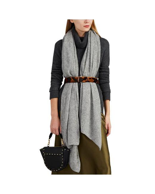 Barneys New York Gray Open-knit Mélange Cashmere-silk Scarf