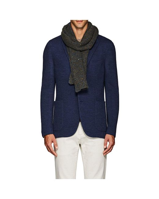 Inis Meáin | Blue Donegal-effect Rib-knit Merino Wool for Men | Lyst