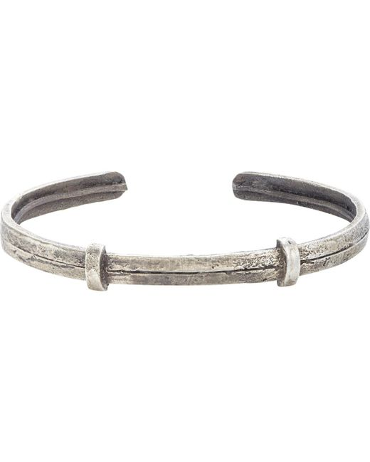 Zadeh - Metallic Textured Silver Cuff for Men - Lyst
