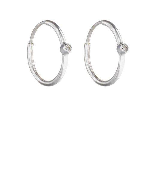 Jennifer Meyer | Metallic White Diamond Hoop Earrings | Lyst