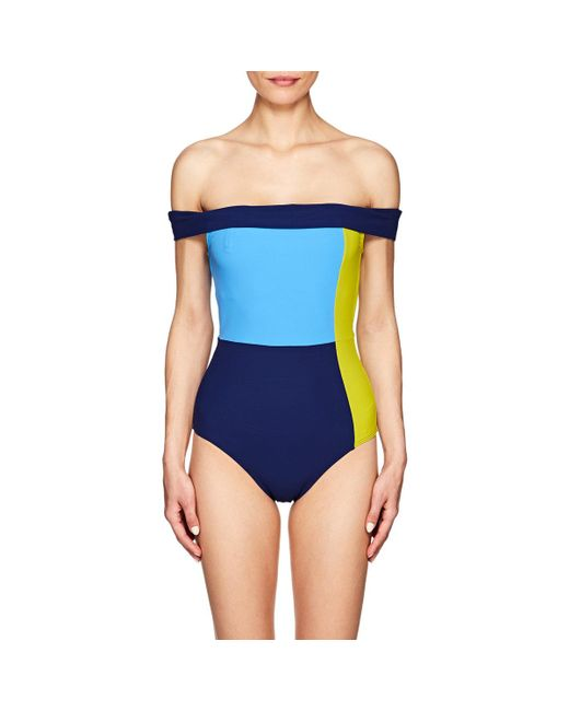 Flagpole Swim - Blue Gia Colorblocked Off-the-shoulder One - Lyst