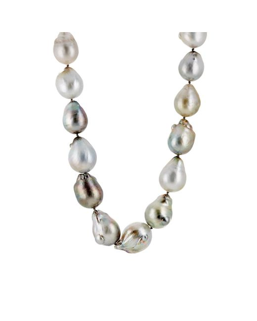Linda Lee Johnson - Metallic Baroque Pearl Necklace - Lyst
