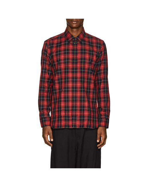Neil Barrett - Red Embellished Checked Cotton-poplin Shirt for Men - Lyst