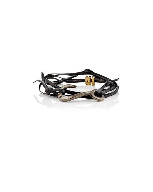 Giles & Brother - Black Lash Wrap Bracelet for Men - Lyst