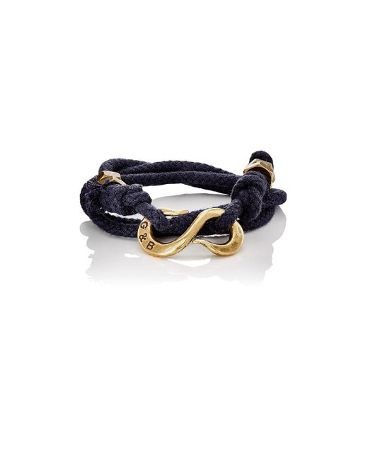 Giles & Brother - Black Rope Wrap Bracelet With S for Men - Lyst