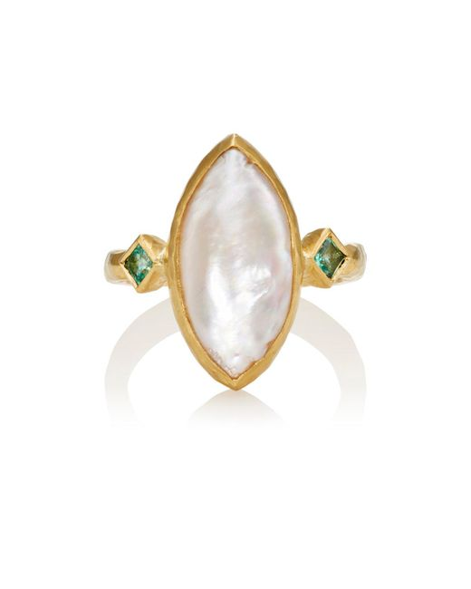 Cathy Waterman | White Pearl & Emerald Ring | Lyst