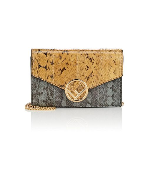 Fendi - Metallic Snakeskin Chain Wallet - Lyst