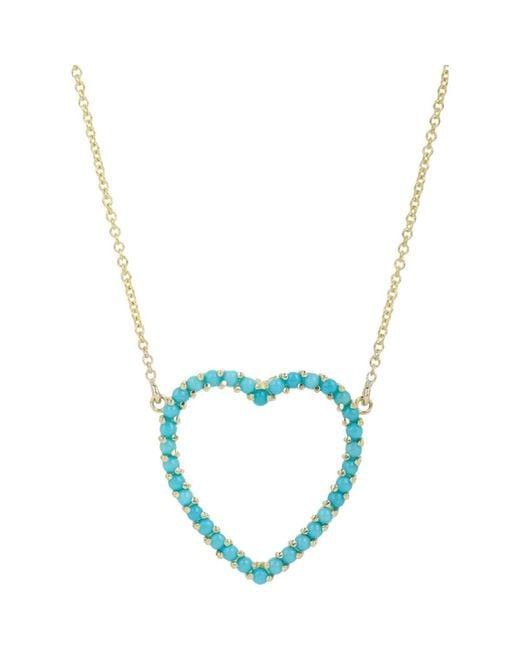 Jennifer Meyer Blue Cutout Heart Pendant Necklace