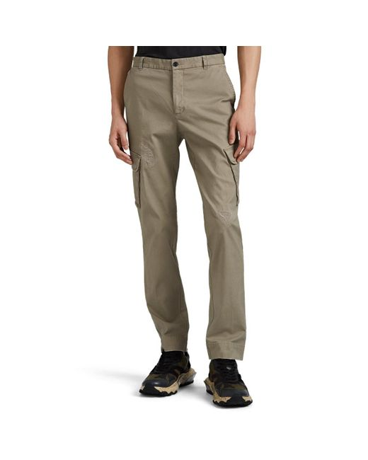 ATM Natural Distressed Cotton Slim Cargo Pants for men