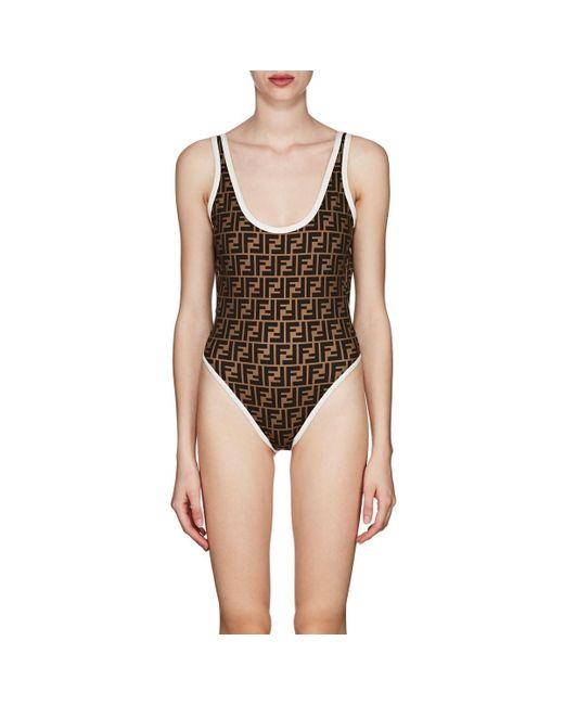 Fendi Brown Logo One-piece Swimsuit
