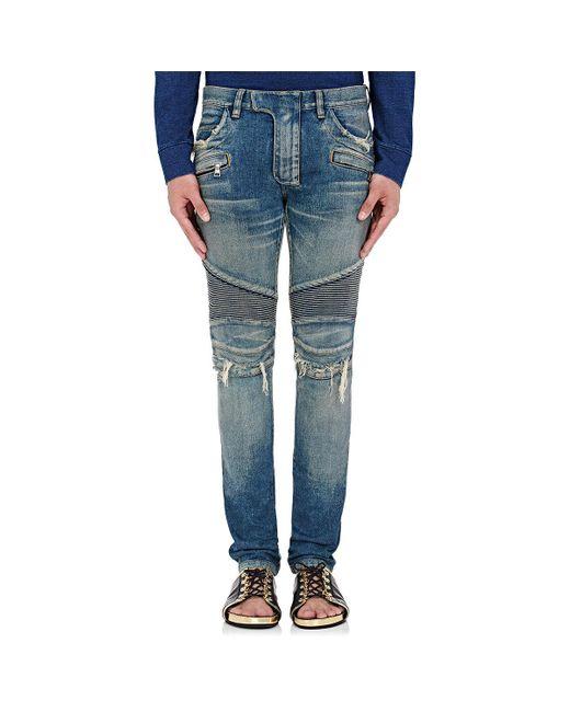 Balmain | Blue Distressed Slim Biker Jeans for Men | Lyst