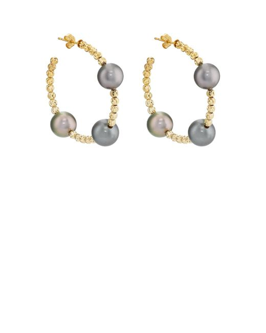 Samira 13   Metallic Beaded Hoop Earrings   Lyst