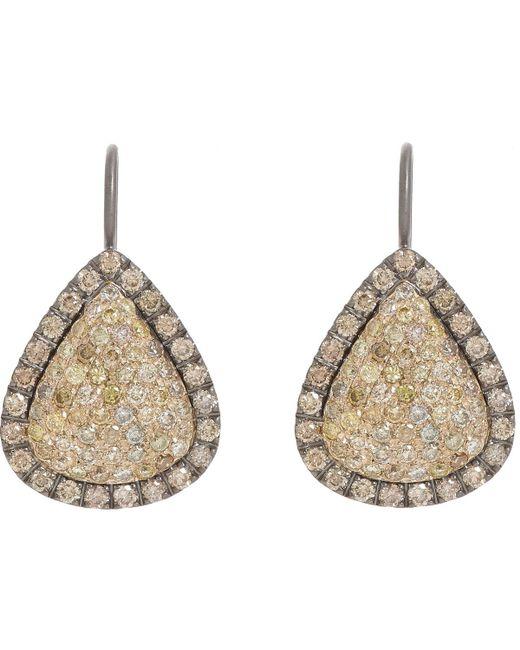 Roberto Marroni | Metallic Yellow Diamond, Brown Diamond & Oxidized Gold Teardrop Earrings | Lyst