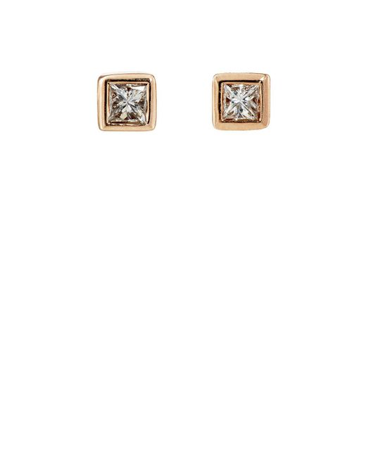 Nak Armstrong | Pink White Diamond Square Studs | Lyst