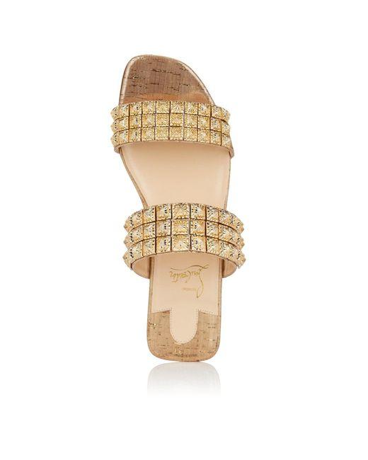 f075a20947cd7 ... Christian Louboutin Metallic Myradiam Flat Liege Pepite Gold Flat  Sandals