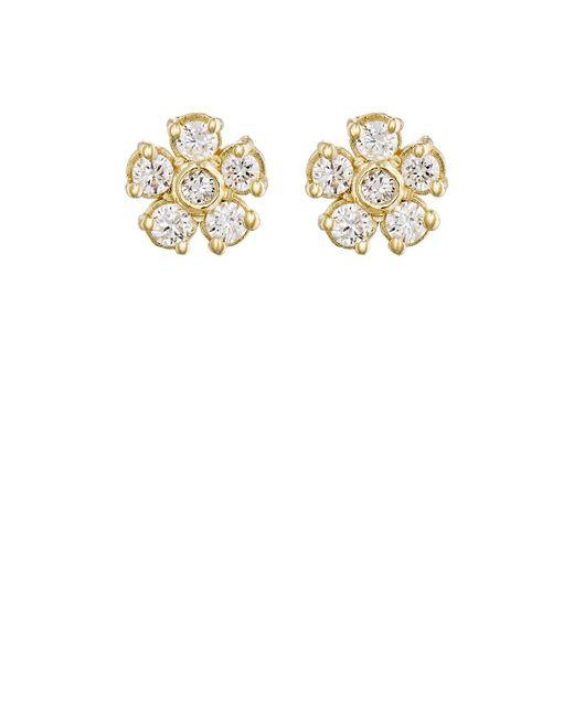 Jennifer Meyer | Multicolor White Diamond Flower Stud Earrings | Lyst