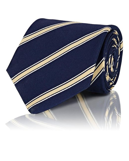 Mens Striped Silk Repp Necktie Isaia WHzjmN