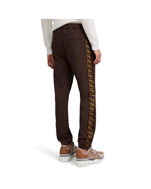 47ee0a017bbd ... Fendi - Brown Logo-striped Cotton-blend Fleece Sweatpants for Men -  Lyst ...