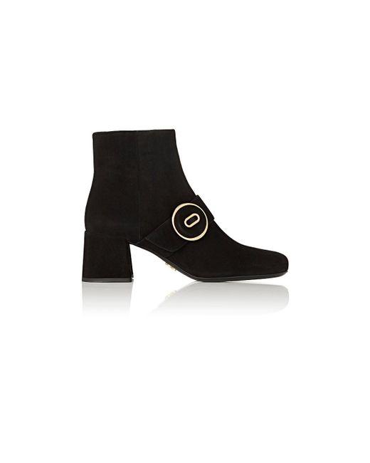 Prada - Black Button-strap Suede Ankle Boots - Lyst