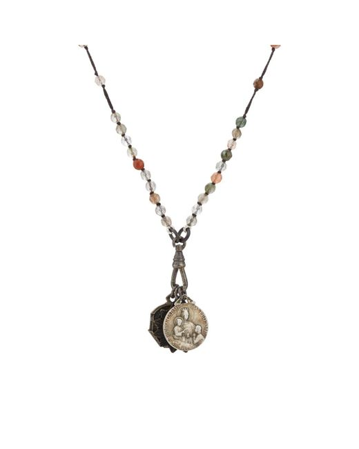 Miracle Icons - Gray Spiritual Icon Charms On Beaded Necklace - Lyst