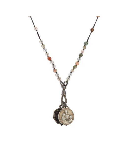 Miracle Icons Gray Spiritual Icon Charms On Beaded Necklace for men