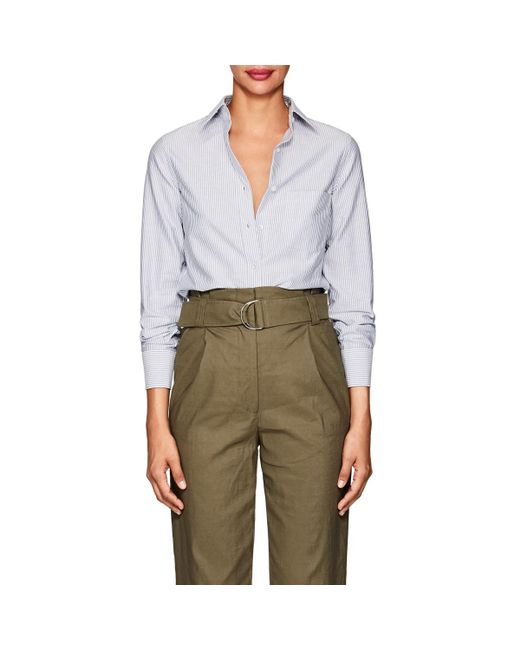 Barneys New York - Blue Striped Cotton Shirt - Lyst