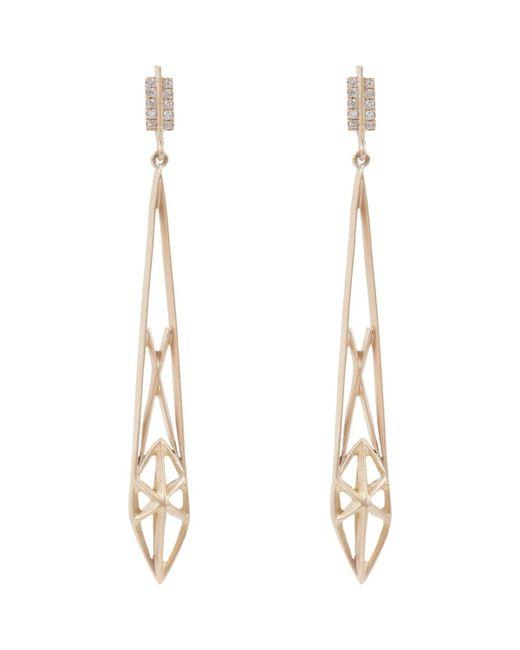 Monique Péan | Metallic Diamond & Gold Geometric Cage Drop Earrings | Lyst