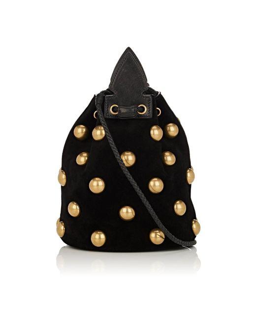 dca4e65c222e ... Saint Laurent - Black Anja Small Suede Bucket Bag - Lyst ...