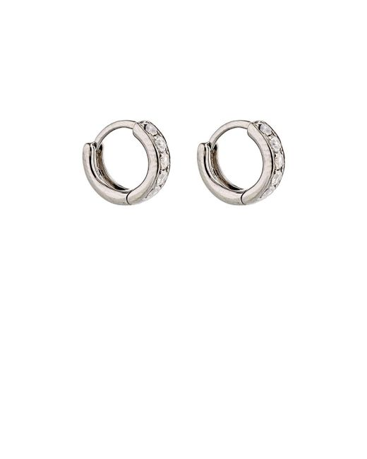 Eva Fehren | Metallic Grey Diamond Huggie Hoops | Lyst