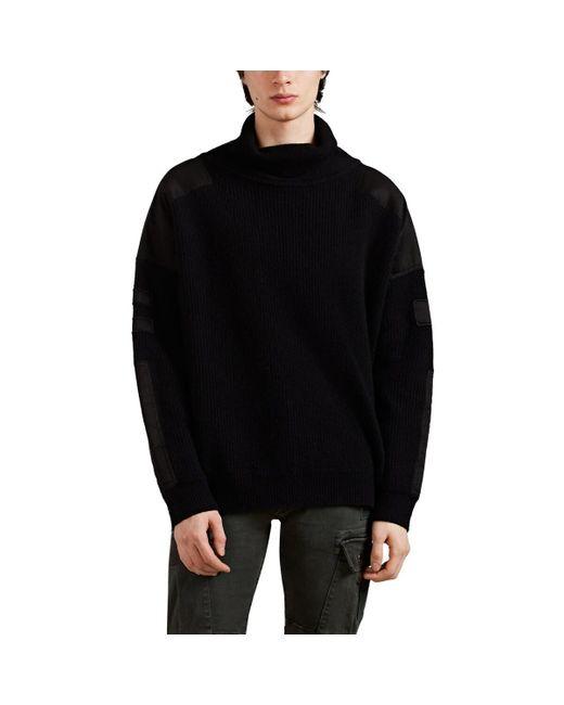 Amiri Black Appliquéd Cashmere-wool Oversized Turtleneck Sweater for men