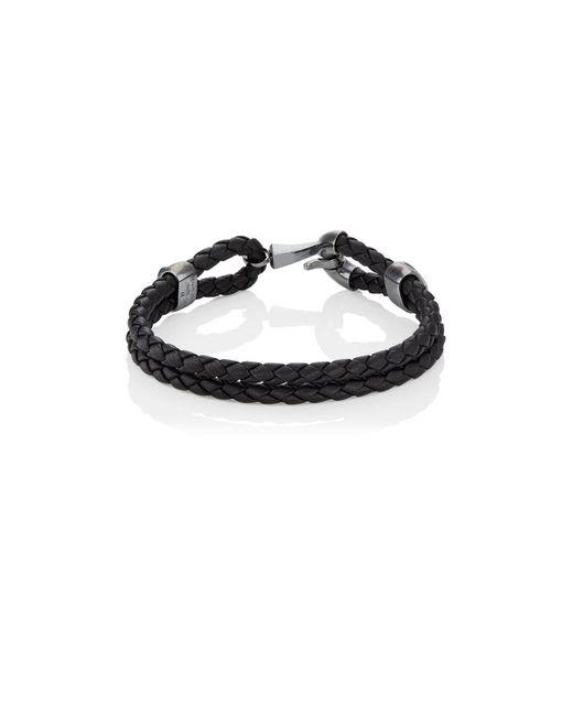 Bottega Veneta | Black Silver Clasp On Intrecciato Leather Bracelet | Lyst