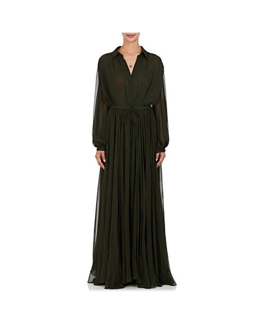 By. Bonnie Young | Green Silk Maxi Shirtdress | Lyst