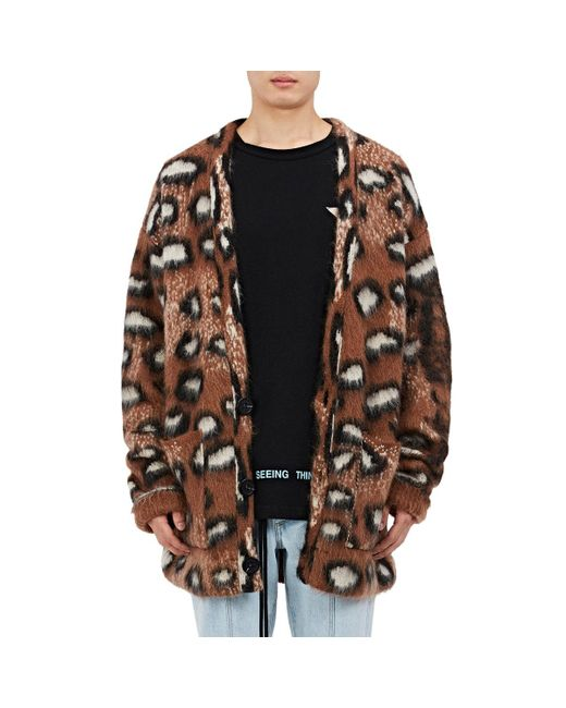 Off-White c/o Virgil Abloh - Brown Leopard-pattern Wool for Men - Lyst