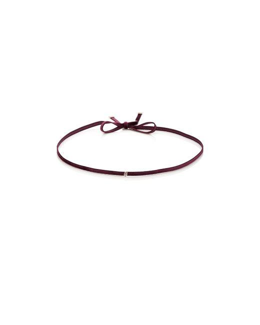 Finn - White Diamond Silk Velvet Ribbon Choker - Lyst