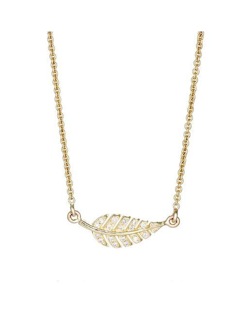Jennifer Meyer - Metallic Pavé Diamond Leaf Pendant Necklace - Lyst