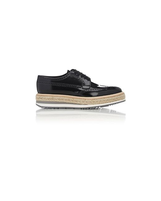 Prada | Black Wingtip Platform Bluchers for Men | Lyst