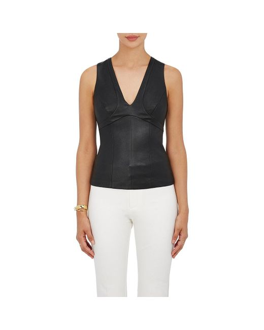 Narciso Rodriguez - Black Paneled Leather Top - Lyst