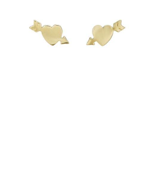 Jennifer Meyer Yellow Shot Through The Heart Stud Earrings