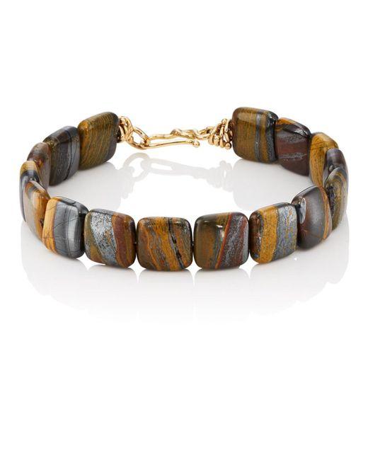 Dean Harris - Brown Tiger Iron Beaded Bracelet for Men - Lyst