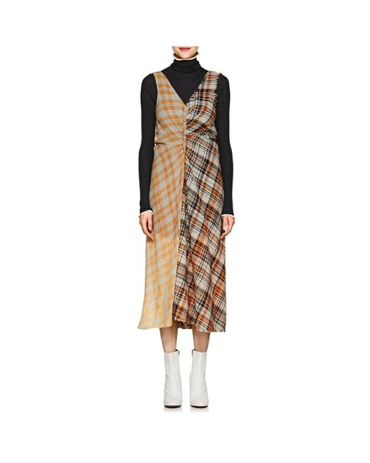 Acne - Orange Plaid Midi-dress - Lyst