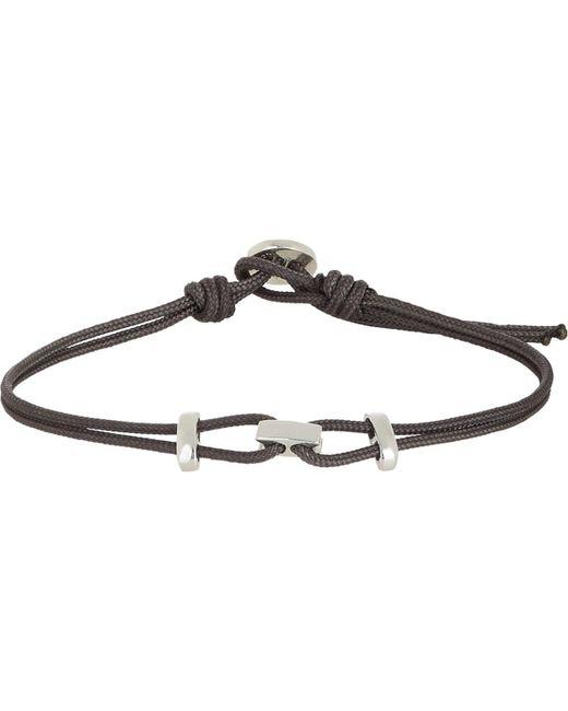Zadeh Black Sterling Silver & Parachute Cord Bracelet for men