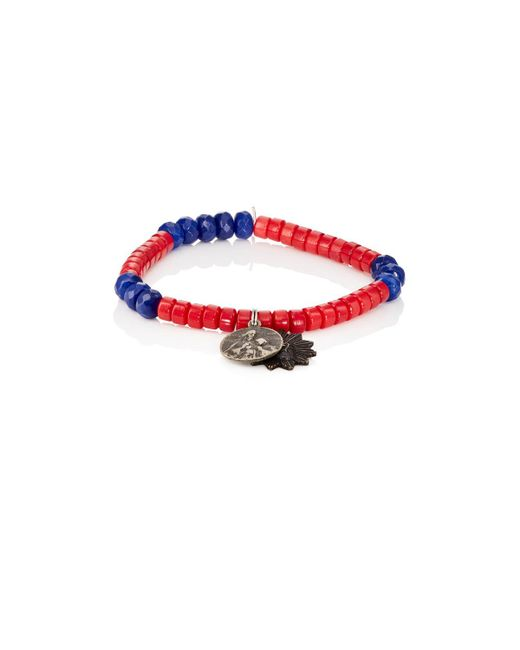 Miracle Icons | Blue Charms On Beaded Bracelet | Lyst