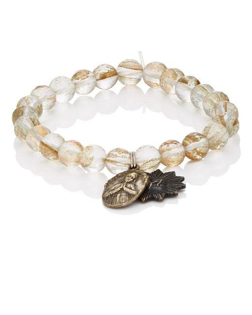 Miracle Icons - Metallic Spiritual Icon Charms On Beaded Bracelet - Lyst