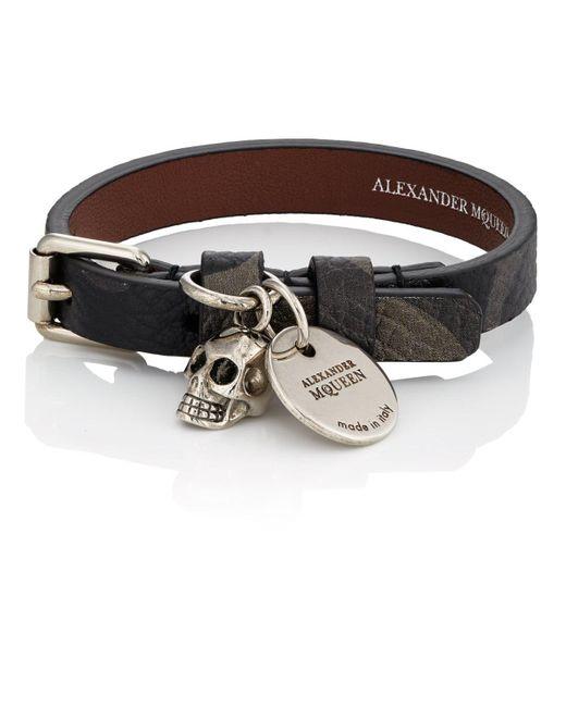Alexander McQueen - Green Camouflage Leather Wrap Bracelet for Men - Lyst