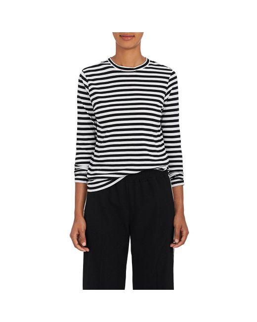 Barneys New York - Black Striped Tissue-weight Cotton T - Lyst