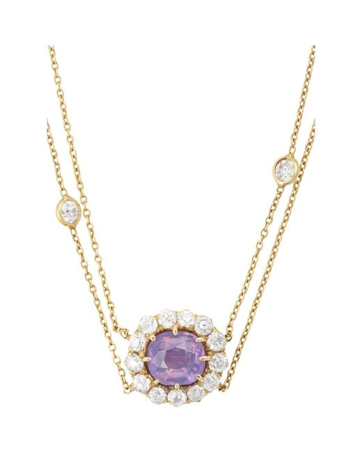 Renee Lewis | Metallic Diamond & Pink Sapphire Flower Pendant Necklace | Lyst