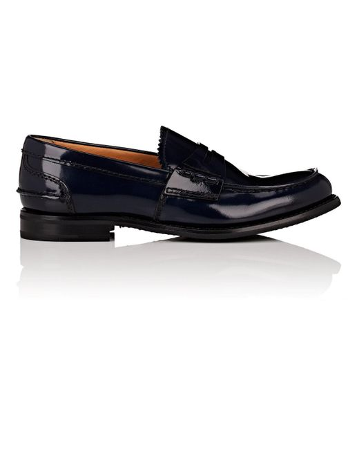 Church's | Blue Pembrey Spazzolato Leather Penny Loafers for Men | Lyst