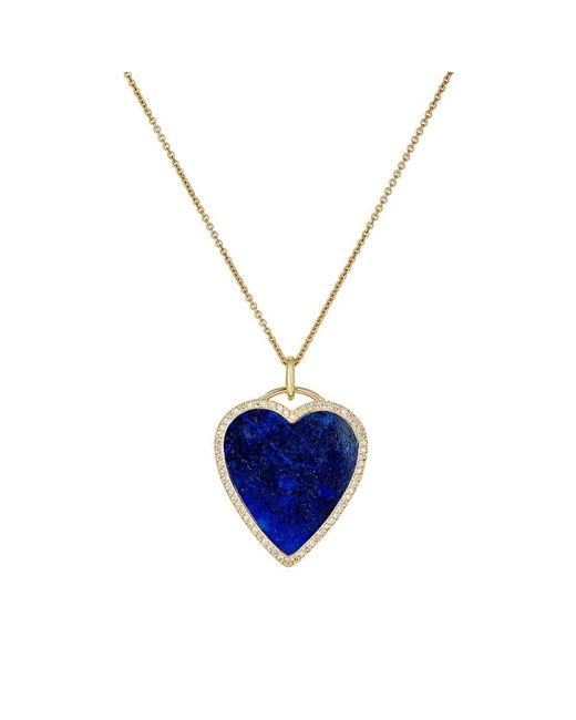Jennifer Meyer - Blue Lapis Inlay & Diamond Heart Necklace - Lyst