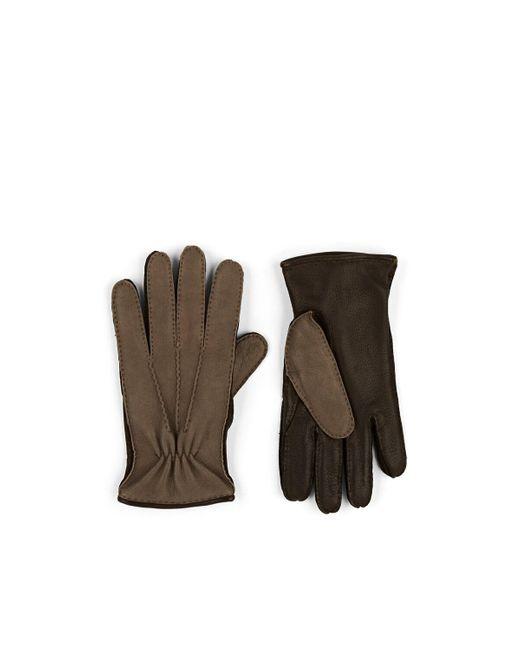 Barneys New York Gray Cashmere-lined Deerskin Gloves for men